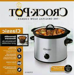 Crock-Pot Manual Slow Cooker, Stainless Steel, 3-quart cook,