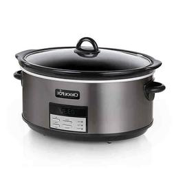 Crock Pot Slow Cooker 8qt Black Stainless Steel Oval Program