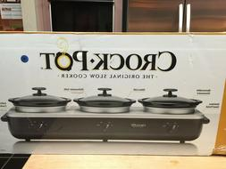 CROCK POT TRIO Buffet Server Slow Cooker Electric Stainless/