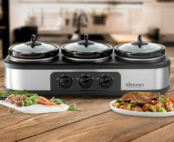 Crock-Pot Triple Slow Cooker Stainless Steel Buffet Server F