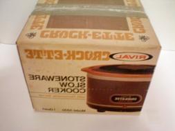 RIVAL Crockette -- Stoneware Slow Cooker with Removabler Ser