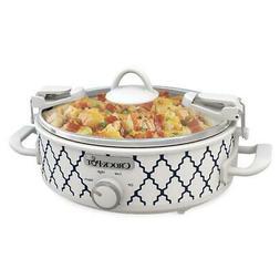 Crockpot 2.5-Quart Mini Casserole Crock Slow Cooker White/Bl