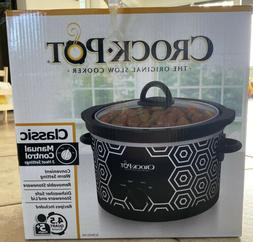Crockpot Round Slow Cooker, 4.5 quart, Black & White Pattern