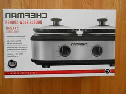 CHEFMAN DOUBLE SLOW COOKER RJ15-125    2 X 125 QT