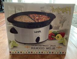 dual compartment slow cooker pot new in