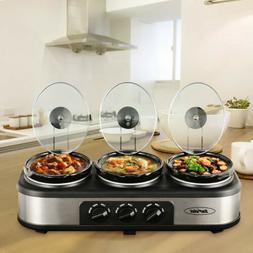 Triple Slow Cooker Crock Pot Buffet Server Set - 3 x 1.5 Qua