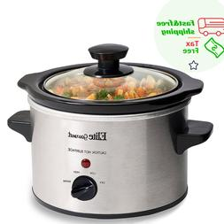 Electric Slow Cooker Adjustable Temp Stainless Steel Cooking