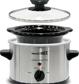 Electric Small Slow Cooker, Adjustable Temp, 1.5Qt Capacity,
