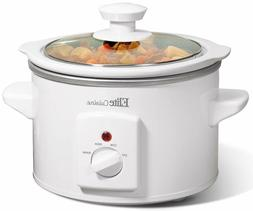 Elite Gourmet White Slow Cooker with Removable Inner Stonewa
