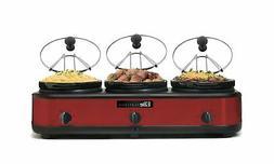 Elite Platinum EWMST-325R Triple Slow Cooker Buffet Server,