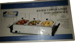 BELLA Food Warmer For Party Triple Buffet Server Commercial