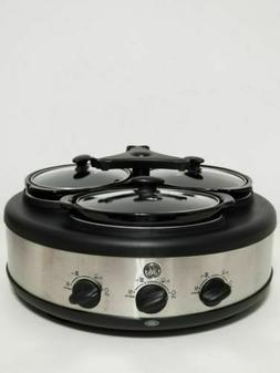 G.E 3 Crock Round Slow Cooker and Warmer with Individual Tem
