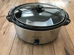 Hamilton Beach 5-Quart Portable Slow Cooker Silver Crockpot