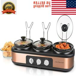 HomeCraft TSC25 3-Station 2.5-Quart Round Slow Cooker Buffet
