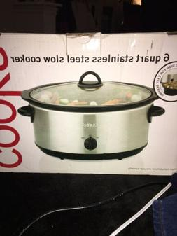 JCP Cooks 6 Quart Stainless Steel Slow Cooker Removable Cera