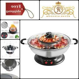 Kitchen Stainless Steel Electric Shabu Shabu Hotpot BBQ Gril