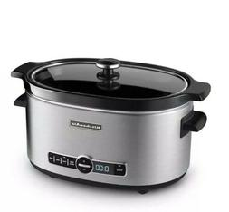 KitchenAid KSC6223SS 6-Quart Slow Cooker with Solid Glass Li