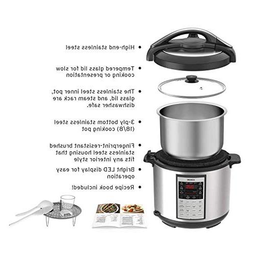 COSORI CP018-PC 8Qt Electric 17-Program Cooker, Steamer, Sauté, & Warmer, Glass 2-Year Warranty, 8