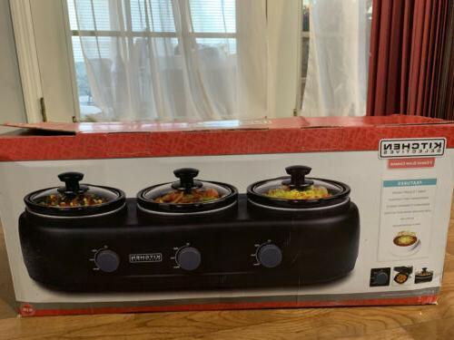 Kitchen Selectives 3 Crock Slow Cooker Sc3100