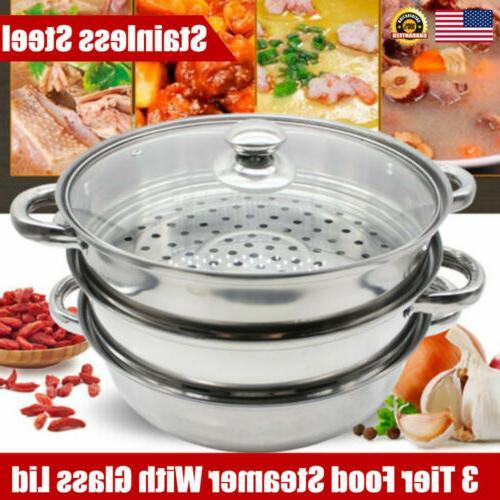 3 Tier Food Steamer Vegetable Meat Cooker Kitchen Stackable