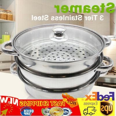 3 tier steamer cooker pot set stainless