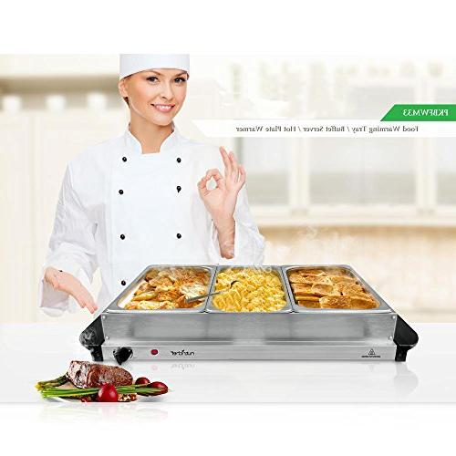 NutriChef Server Plate Food Warmer | Electric | Great for Events Max 175F |