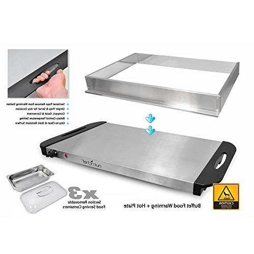 NutriChef Server & Hot Plate Food Warmer Electric | Easy Steel | Portable & Great for & Events | Max 175F