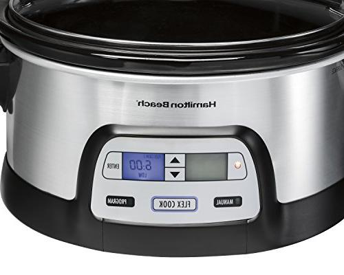 Hamilton Programmable Slow Cooker, Quart, Dual Timer, Steel