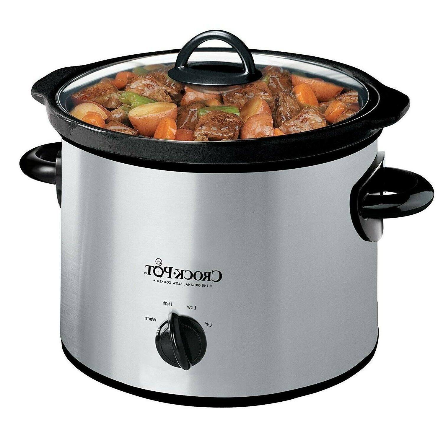 3Qt Slow Cooker Manual Stainless Steel Dishwasher Safe High