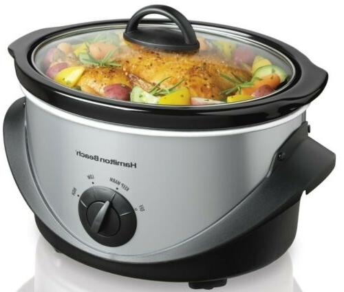 Hamilton Beach 4 Qt. Oval Slow Cooker Stainless Steel