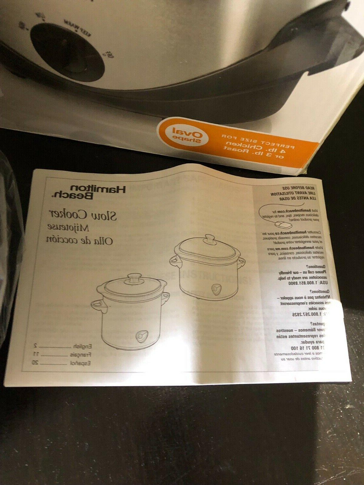 Hamilton Beach 4-Quart Slow Cooker with Instruction Manual - Model