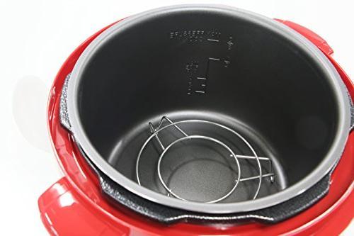Maxi - Platinum 4-quart Pressure Cooker - Stainless-steel/red