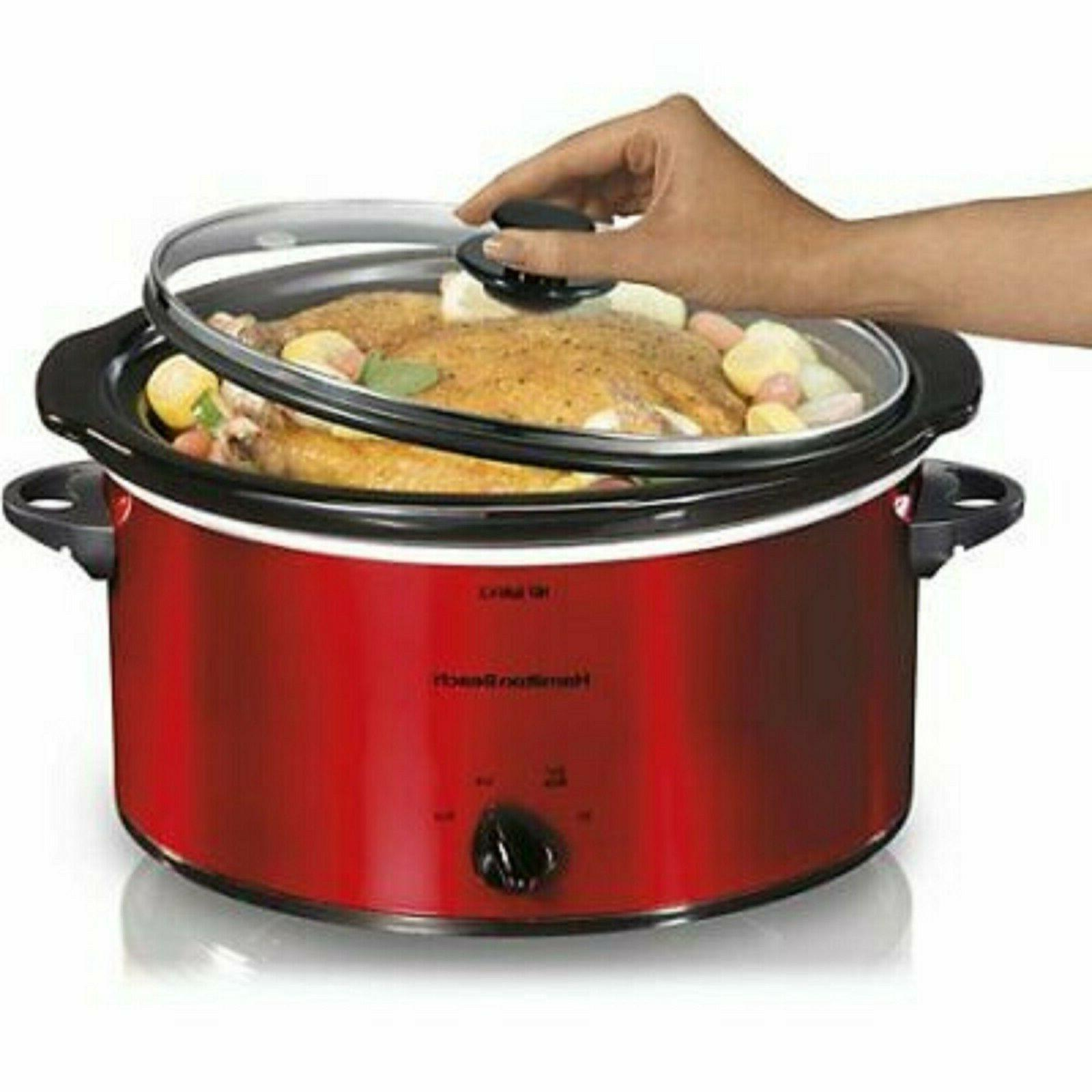 5 quart portable slow cooker red crock
