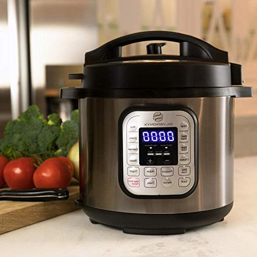 Multi-pot Electric Pressure Cooker Stainless 6 Instant 1000 Free Recipe Book Included. Slow Sauté, Rice, Steamer SilverOnyx