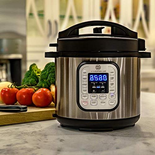 Multi-pot 10-in-1 Cooker with 6 Pot, Instant 1000 Pressure, Recipe Book Slow Steamer & SilverOnyx