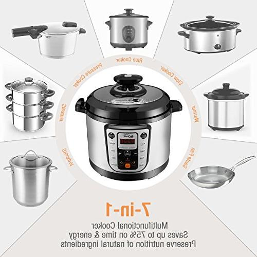 Housmile 6 7-in-1 Multi-Use Pressure Cooker Ribs, Bean, Poultry, 1000