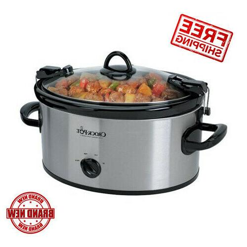 6 Quart Cook Carry Manual Portable Slow Cooker Stainless Ste