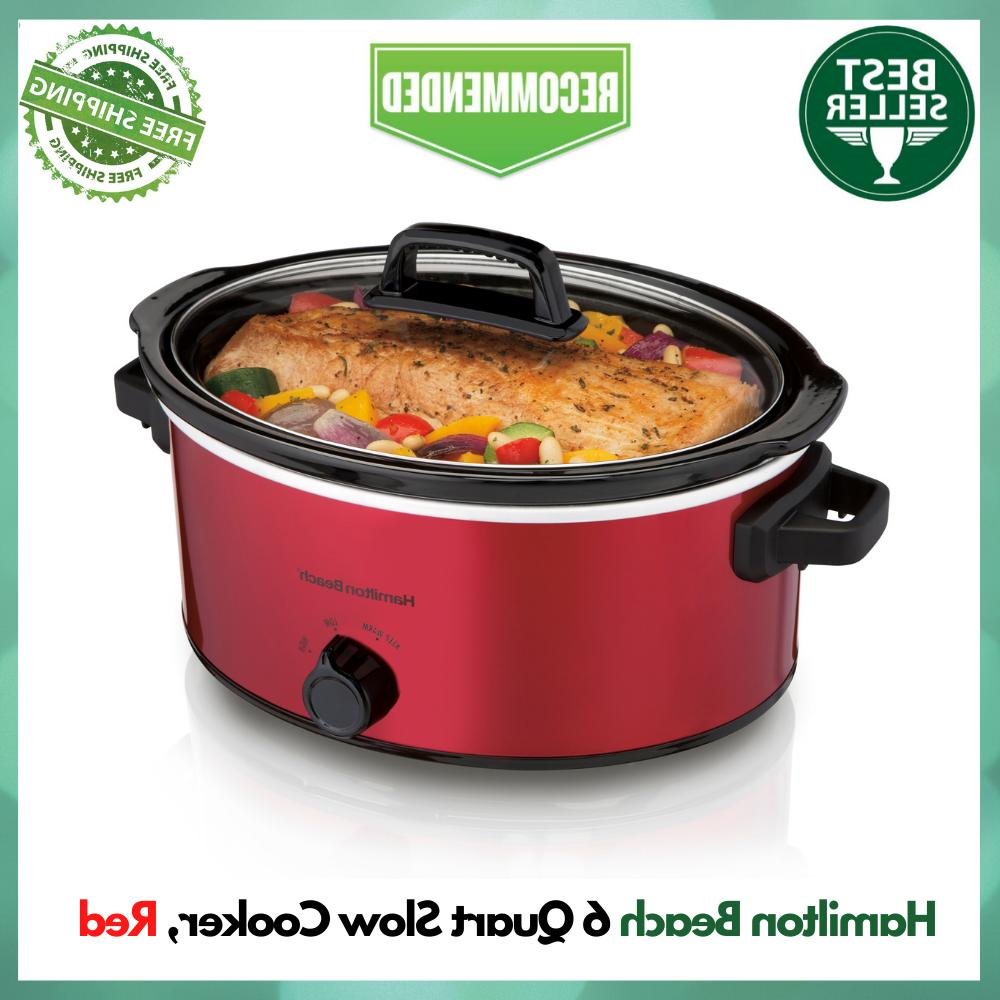 Hamilton Beach 6 Quart Manual Slow Cooker Red, Dishwasher-Sa