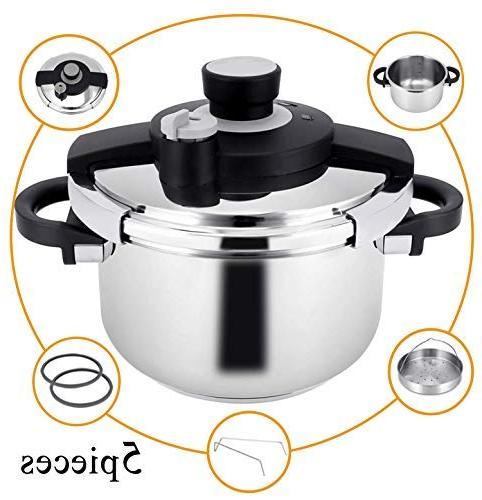 Z&L 6 Quart Cooker One-hand System,7psi/12psi High Pressure Cookware,Stove Pressure