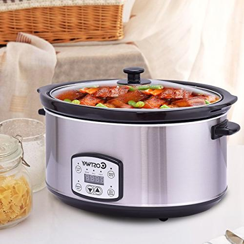 Costway Cooker Programmable Oval Stainless Steel Slow Cooker Timer