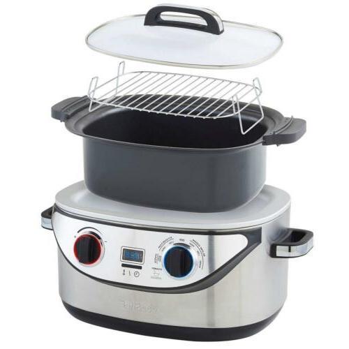 VonShef 8 Multi Cooker Steel - Slow Simmer,...