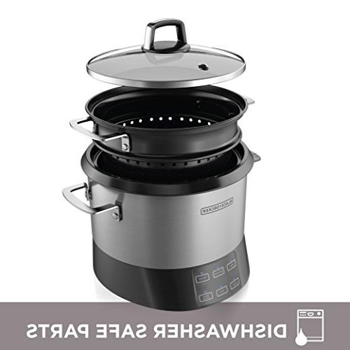 BLACK+DECKER RCR520S Pot, 20-Cup Rice Cooker, Slow and Food Saute Stainless