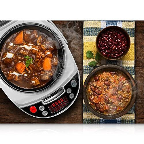 NutriChef AZPKPRC16 Elec.Pressure Slow Cooker, pounds Black