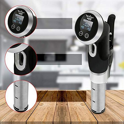 Sous Circulator Cooker Stainless Steel Stick Chef Precision Cooking with Temperature - Clips Deep PKPC235BK