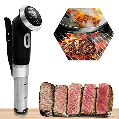 Sous Vide Immersion Circulator Cooker - Watt Stainless Steel Thermal Chef Precision Cooking Machine with Time Temperature Clips Deep Container PKPC235BK