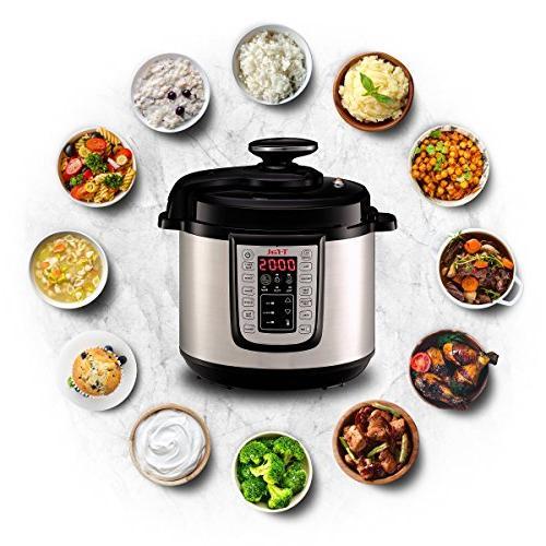 T-fal Pressure Cooker, Pressure Fryer, Programmable Cooker, 25 6 Silver