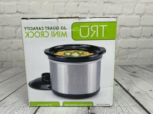 Tru - 0.65-quart Mini Slow Cooker - Stainless-steel/black