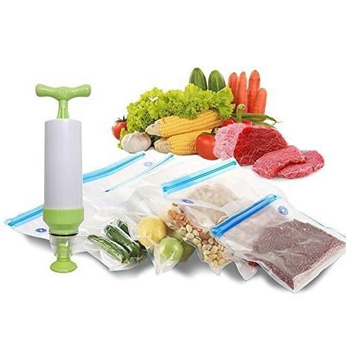 VNHOME Sous Vide Vacuum Bags, Vide Kit for Anova, Sansaire, Polyscience with Hand Vacuum Pump, x Bags Easy to Use, for Food Storage & Cooking
