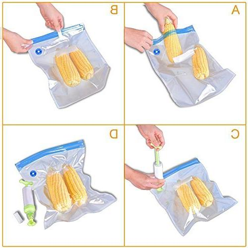 VNHOME Bags, Kit Sansaire, Polyscience with Hand Pump, 5 x Bags Easy to Use, Practical for Food Cooking