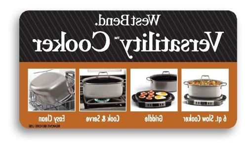 West Bend 84966 Versatility Oval-Shaped 6-Quart Cooker, Gray